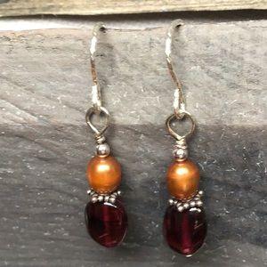 Jewelry - 🎉SALE🎉Sterling Silver Pearl & Garnet Earrings